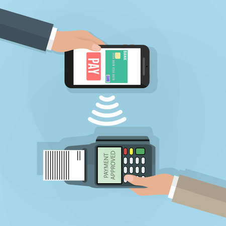 confirms: Pos terminal confirms the payment by smartphone. illustration in flat design on blue background. nfc payments concept
