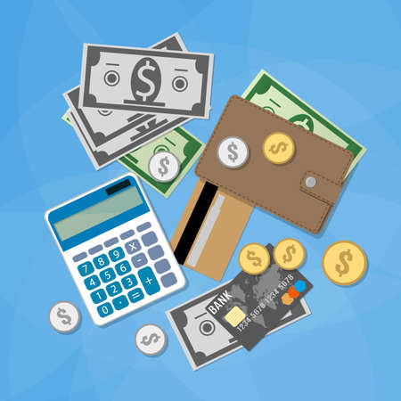financial condition: Set of financial money items. Calculator, silver gold coins, dollar cash, credit card, wallet. illustration in flat design on blue background
