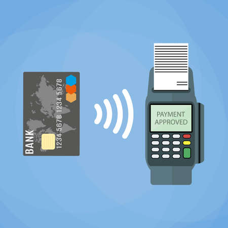 confirms: Pos terminal confirms the payment by debit credit card. illustration in flat design on blue background. nfc payments concept
