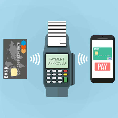 sales person: Pos terminal confirms the payment by smartphone and card. illustration in flat design on blue background. nfc payments concept