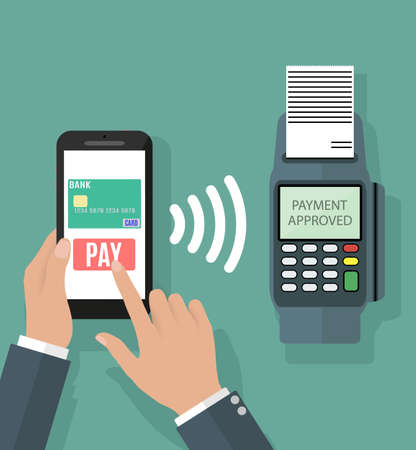 Pos terminal confirms the payment by smartphone. illustration in flat design on green background.