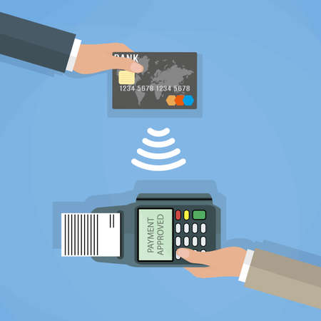 Pos terminal confirms the payment by debit credit card. Vector illustration in flat design on blue background. nfc payments concept