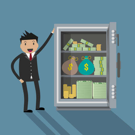 cartoom: Cartoom Businessman with a lot of money bags and stacks of dollars in silver metall safe box. vector illustration in flat design on blue background