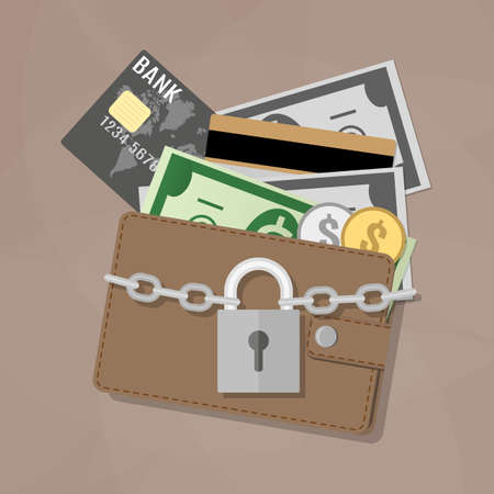 closed lock: Closed brown leather wallet with dollar cash, coins, debit credit cards inside and locked silver pad lock with chain. vector illustration in flat design on brown background