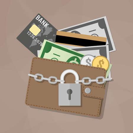 Zamknięty brązowy skórzany portfel z monet dolara gotówką, debetowych, kart kredytowych i zablokowana wewnątrz srebrnym zamkiem pad z łańcucha. ilustracji wektorowych w płaskiej konstrukcji na brązowym tle Ilustracje wektorowe