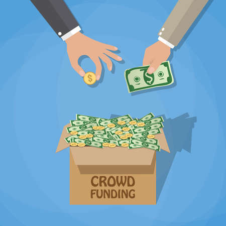 initiator: Crowdfunding concept, box full of dollar cash and coins and businessman hands. vector illustration in flat design on blue background