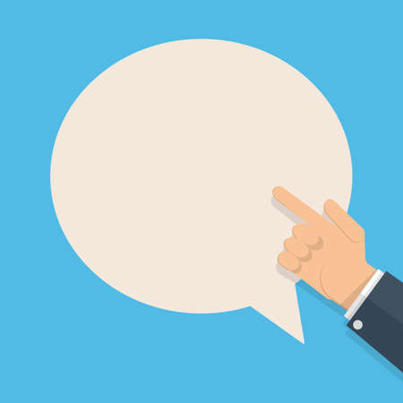 raise the thumb: cartoon businessman hand with pointing finger and white speech bubble for text. vector illustration in flat design on blue background