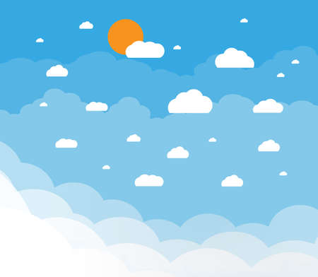 cloudy: Blue sky with clouds and sun. vector illustration in flat design Illustration