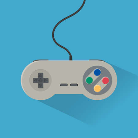 wired: Video game Controller Icon. vintage wired grey gamepad. vector illustration in flat design with long shadow on blue background