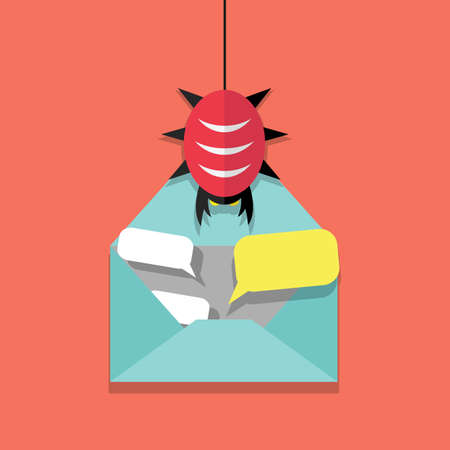 adware: Infected email icon. opened mail and virus malware bug. vector illustration in flat design on red background