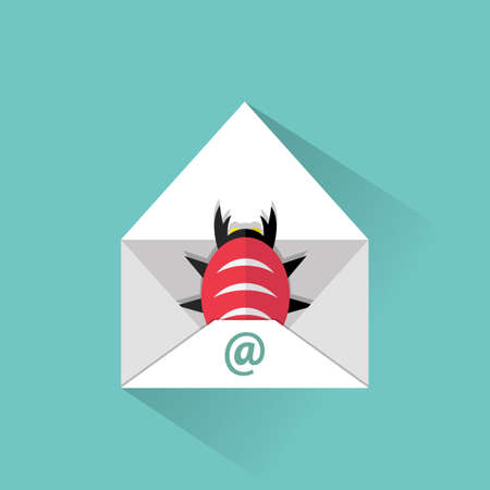 Infected email icon. opened mail and virus malware bug inside. vector illustration in flat design on green background Illustration