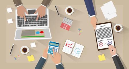 Geschäftstreffen und Teamarbeit. Geschäftsmann mit Laptop, Rechner, Vertrags Papiere, Kaffeetassen, Kugelschreiber, Kalender und Notizen auf dem Schreibtisch mit Schatten. Vektor-Illustration in flaches Design auf braunem Hintergrund