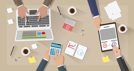 Business meeting and team work. Businessman with laptop, calculator, contract papers, coffee cups, pen, calendar and notes on desk with shadows. vector illustration in flat design on brown background Illustration