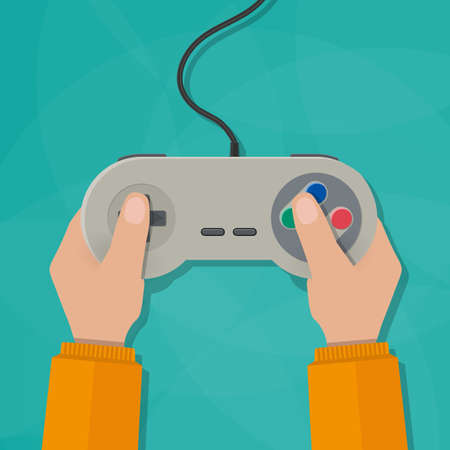gamepad: Hands holding wired old school gamepad. vector illustration in flat design on green background Stock Photo