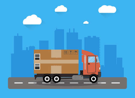 transporting: Red delivery truck transporting big brown cardboard package on road and city shiluette with clouds. vector illustration in flat design. delivery concept