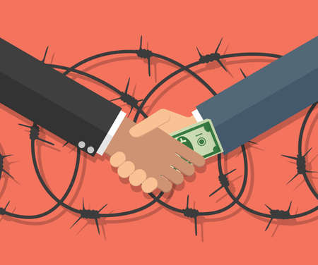 corruption: Cartoon Businessman giving a bribe. Vector illustration in flat design on red background with barbed wire. anti Corruption concept.