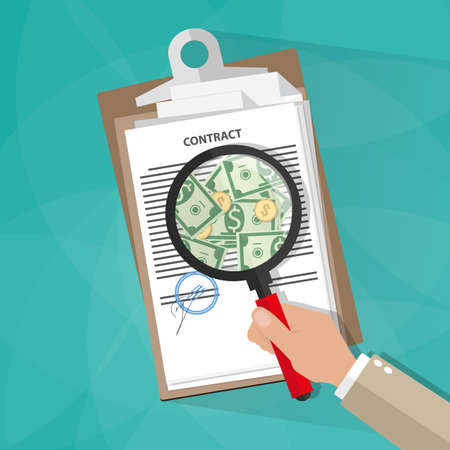 find fault: Cartoon businessman hand checking contract with a magnifying glass on a table before signing and see money. Contract inspection concept. vector illustration in flat design on green background Illustration
