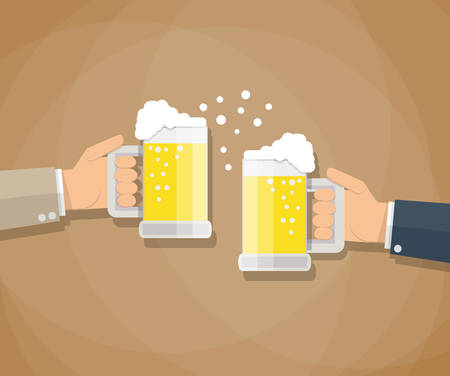 toasting: cartoon businessman hands toasting glasses of beer. Business successful and partnership concept. vector illustration in flat design on brown background