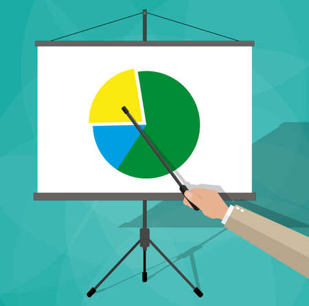 boardroom: cartoon businessman hand giving presentation on flip chart with pie chart. vector illustration in flat design on green background