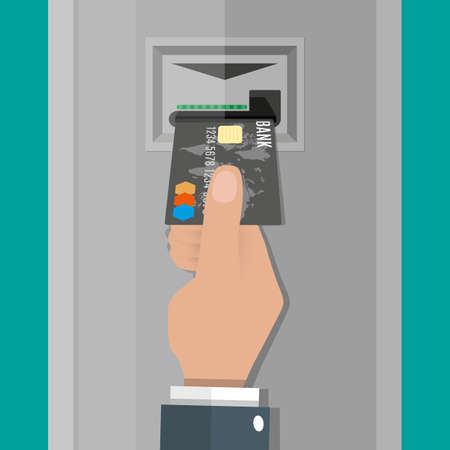 bankomat: Cartoon hand inserts a credit debit card into ATM. vector illustration in flat design on green background