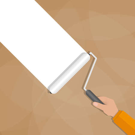 Paint roller with hand make a white line on brown wall. vector illustration in flat design Illustration