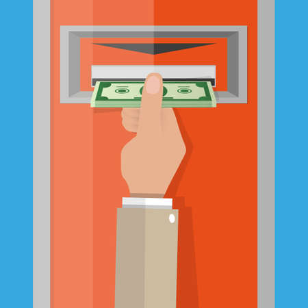 slot in: Cartoon hand take money cash from ATM slot. vector illustration in flat design on blue background