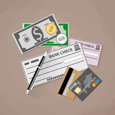 debit cards: Credit debit Cards, Money cash, Coins and bank check. Payment Methods Concept. vector illustration in flat design on brown background