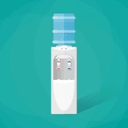 water cooler: Gray white plastic water cooler with blue full bottle. vector illustration in flat design on green background with shadow