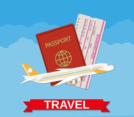 Jet vliegtuig vliegen, paspoort, boarding pass ticket in de wolken. reisconcept. vector illustratie in plat design