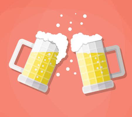 vasos de cerveza: tintineo de jarras de cerveza de vidrio. Concepto de la celebración con cerveza y se derrama en colisión con espuma. Ilustración del vector en diseño plano sobre fondo rojo