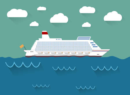 house float on water: White cruise ship, ocean liner in water and sky with clouds. vector illustration in flat design Illustration