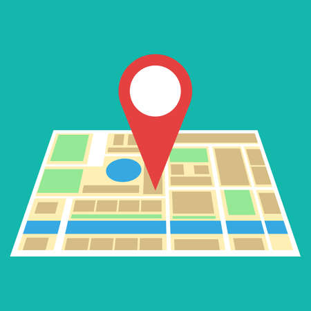 Navigation geolocation icon. City map with red pin, vector illustration in flat design on green background