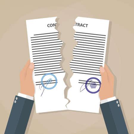 lagrimas: Empresario de dibujos animados las manos de la desgarrando contrato. concepto de terminaci�n del contrato. ilustraci�n vectorial en dise�o plano sobre fondo marr�n