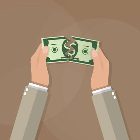 Empresario de dibujos animados desgarrando las manos de la cuenta de dólar de dinero por la mitad. ilustración vectorial en diseño plano sobre fondo marrón