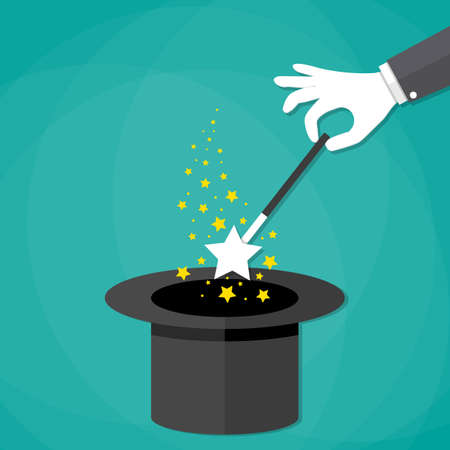 Cartoon Magicians hands in white gloves holding a magic wand with stars sparks above black magic hat. vector illustration in flat design on green background Ilustração