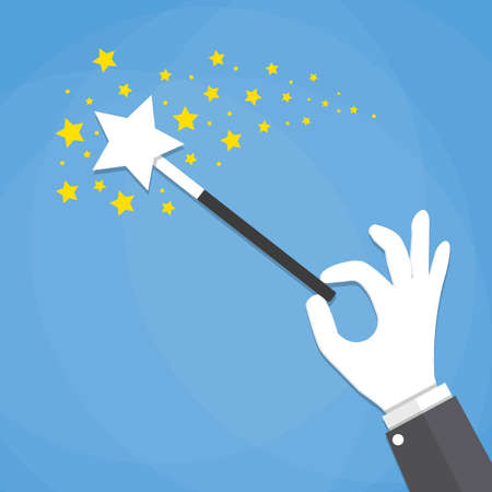 abracadabra: Cartoon Hand hold magic wand with stars sparks. vector illustration in flat design on blue background