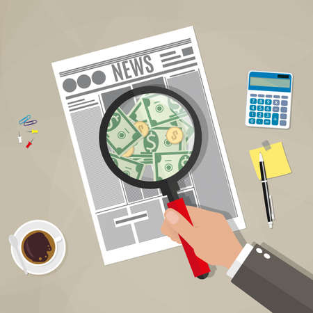 official: Cartoon businessman hand checking newspaper with magnifying glass and see money. coffee cup, notes, pen, calculator. business news inspection concept. vector illustration flat design brown background Illustration