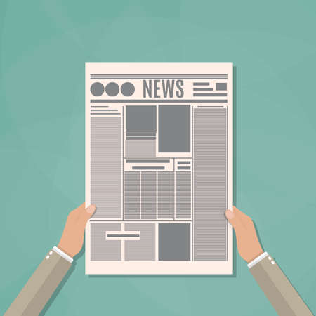 daily newspaper: cartoon Hands of Businessman holding a daily newspaper. vector illustration in flat design on green background