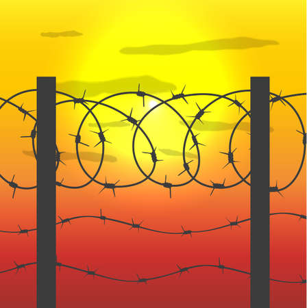 guarded: silhouette of fence with barbed wire and sunset sky with sun. vector illustration