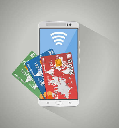remittance: Silver smartphone and three bank debit credit cards inside screen. concept of mobile banking and online payment, vector illustration on grey background with long shadow