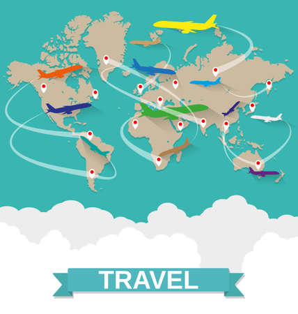 World map with routes airplane, clouds with sign on green background. vector illustration in flat design. travel concept Illustration