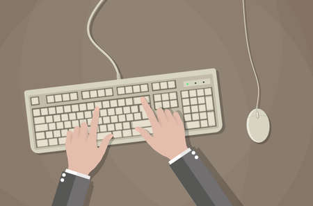 Cartoon hands on white keyboard and mouse of computer. Desk office worker concept. Computer, internet, typing. vector illustration in flat design on brown background Illustration