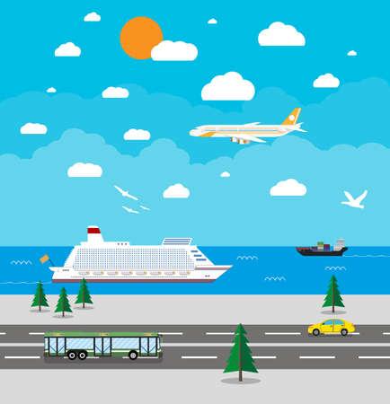 sfondo con vari tipi di trasporto, auto, bus, airoplane, navi da crociera. diversi mezzi di trasporto. Concetto di corsa. Illustrazione vettoriale in design piatto