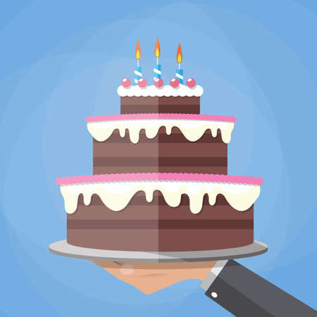 Cartoon hands holding chocolate layer cake decorated with three candles. vector illustration in flat design on blue background Illustration