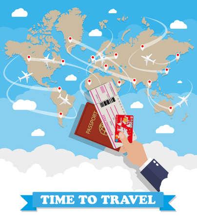 brown world map with routes airplane, hand with passport ticket and debit credit card. vector illustration in flat design on blue background with clouds. travel concept