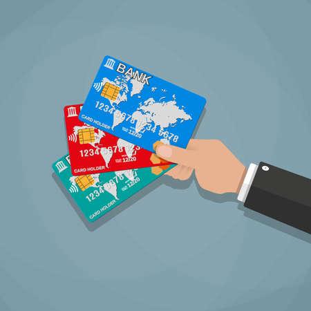 banco mundial: Manos de dibujos animados con las tarjetas de crédito de débito bancarias. ilustración vectorial en diseño plano sobre fondo gris