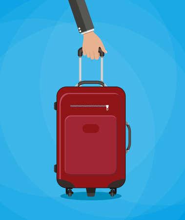 travel bag: Hand holding red travel bag. vector illustration on blue background in flat design