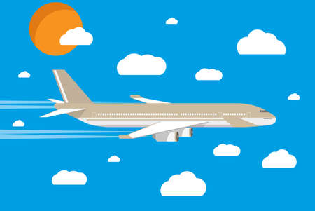 sun sky: picture of a grey civilian plane with clouds and sun. vector illustration in flat design. travel concept