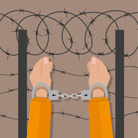 handcuffed: human hands in handcuffs and background with barbed wire. anti criminal, anti corruption concepts. vector illustration in flat design on brown background
