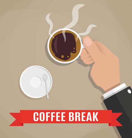 downtime: Cartoon businessman holding cup of hot coffee. coffee break,  crockery for coffee, time out on work. vector illustration in flat design on brown background Stock Photo